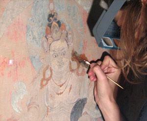 THF conservation of historic Tibetan Buddhist wall-paintings in Amdo Serkhang: German intern Karolin Wiench