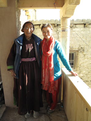 Ms Tsering Dolkar and her mother in the balcony of Zalok-pa house.