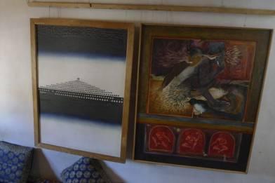 Buddha's Nirvana (left) and Human bonding, two works by Ghulam Mustafa