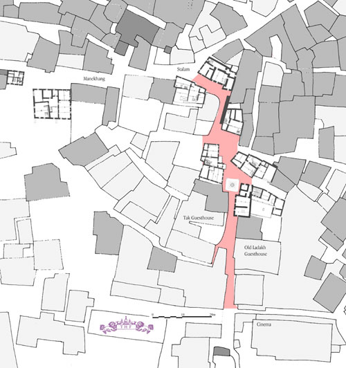 Map showing the conservation model street in pink (THF 2005)