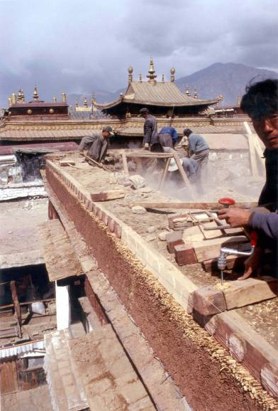 The restoration of Meru Nyingpa in Lhasa required revival of many traditional skills and technologies (Alexander 1999)