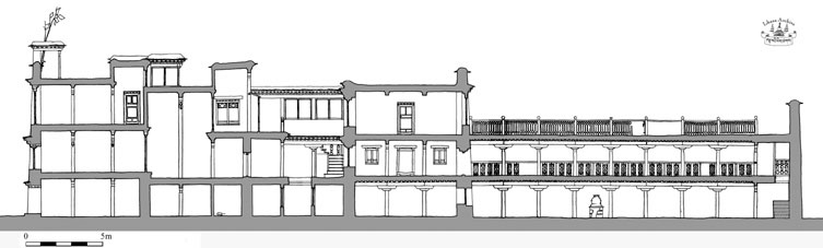 Lhasa Tsarong/Pomdatsang House, section to scale (J. Hartmann/THF)