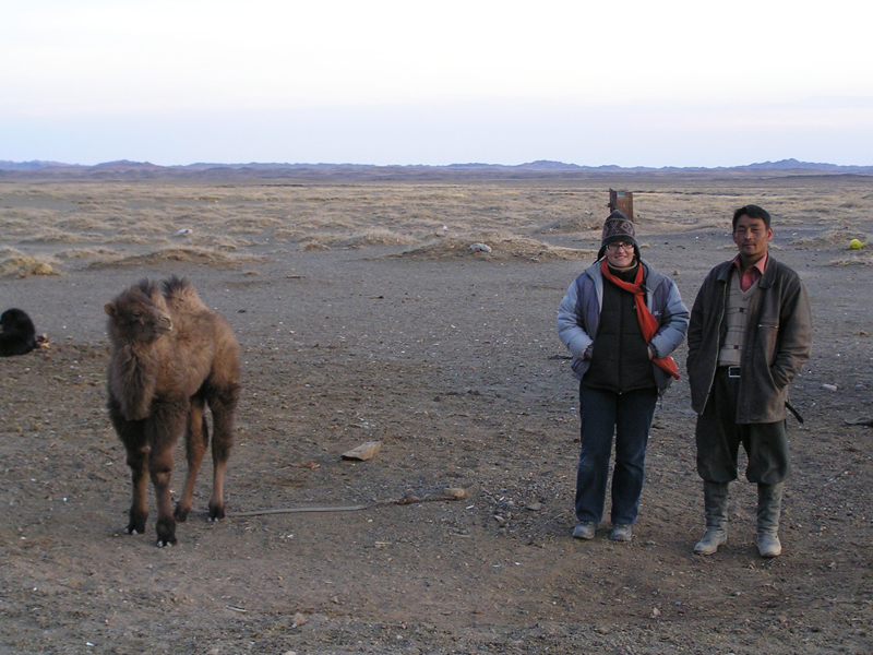 Pimpim, driver and camel in gobi desert