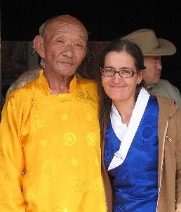Pimpim and Mongolian friend in Sangiin Dalai Monastery.
