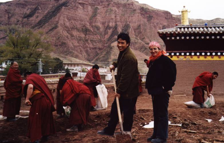 Pimpim and Lobsang Nudrup supervising the opening of the temple's roof.