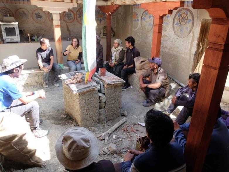 Meeting the community of Hemar temple in Takmachik during restoration work..