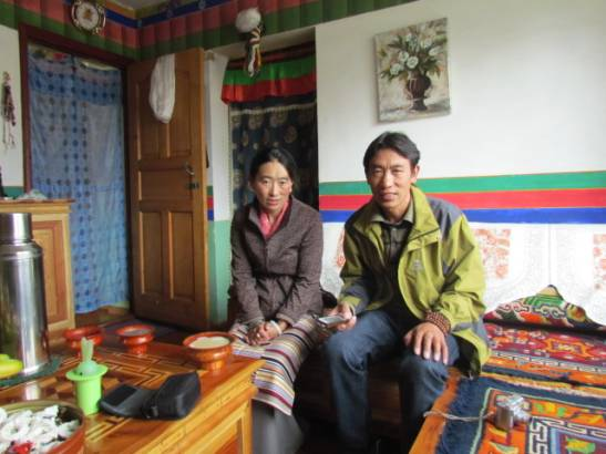 Lobsang at home with his wife