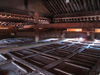 The space underneath the gabled roof...