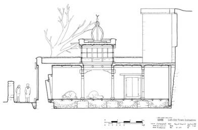 West-east section drawing of completed mosque (AC/THF)