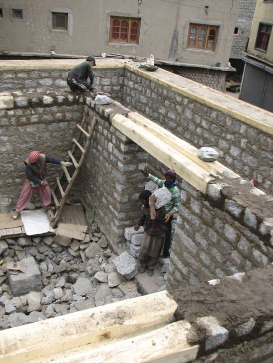 Building up of the walls, the inner and outer wall.