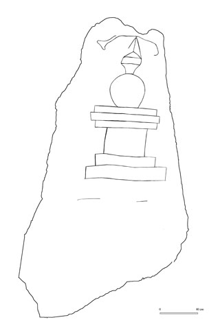 Carving of a stupa on the back of the stone image
