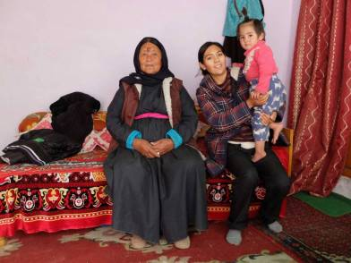 Chagon house 's owner Mrs Sonam Dolma with her daughter and grand daughter.