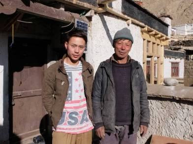 Mr. Tsering Dorjey the owner of Mahey house  with his son.