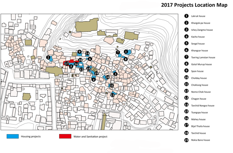 Small Housing repair and sanitation project location map. In blue the location of houses and in red the water sanitation projects.