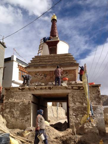 The team is working in the stupa.