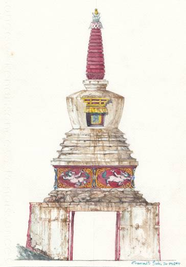 East stupa gate painted by Thai artist for THF.