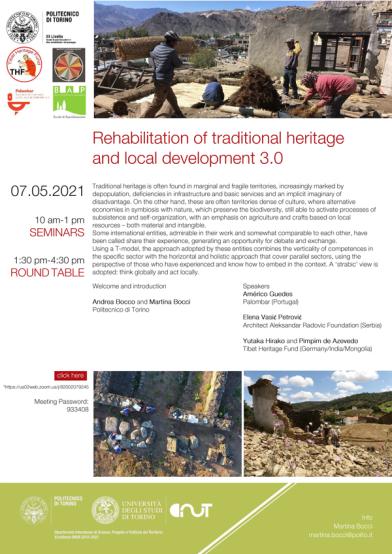 Politecnico di Torino - Rehabilitation of traditional heritage and local development 3.0