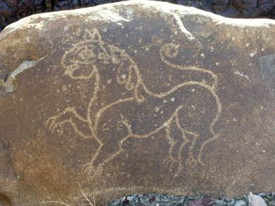 Stylized lion, near Khaltse bridge (Tashi Ldawa)