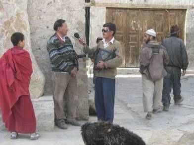 Skarma Rinchen interviewed by Ladakhi Radio for the opening of his exhibition at Lala's Gallery