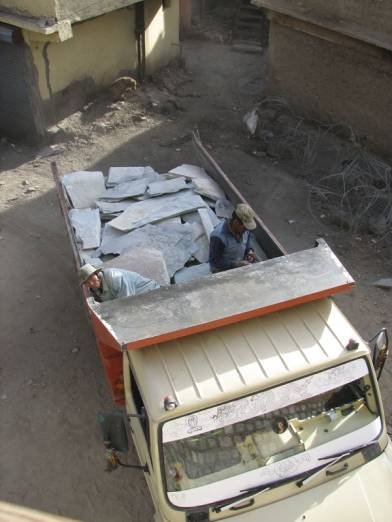 New supply of slate stones for the museum floors is arriving, quarried by our masons at Chiling