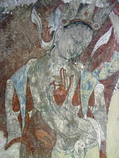 Bodhisattva, 15th century, Leh Red Maitreya Temple, mural recovered from white-washed wall by THF in 2006