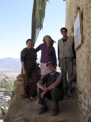 Ladakh Guru Lhakhang restoration team 05: Suzy Hesse, Yangchen, Skarma and Daniel