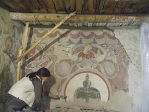 Anca Nicolaescu working on 15th-century wall-paintings in the Leh Red Maitreya Temple