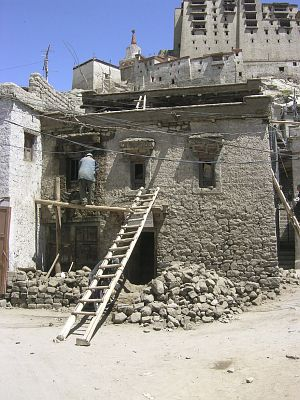 Sankar House at Leh Manikhang, work in progress May 2006.