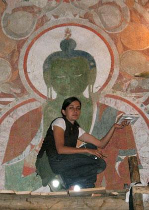 Romanian restorer Anca Nicolaescu in the Red Maitreya temple